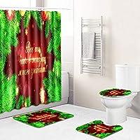 お祝いの新年浴室用バスマットトイレふたカバーマットラグ付き(バスカーテン)180 * 180センチメートル、防水ノンスリップクリスマスのシャワーカーテンセット Red wine-180~45*75cm