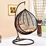 Large Brown Hanging Rattan Swing Patio Garden Chair Weave Egg w/Cushion In Outdoor- The WINNER*