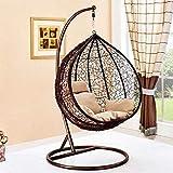 Balançoire de jardin terrasse chaise en rotin suspendu avec oeuf tressé coussin intérieur ou extérieur,Brown