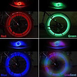 yidenguk 8 pcs luz de radios de Bicicleta, fácil instalación Luces de radios de Rueda para Adultos, niños Bicicleta, lámpara de Flash de LED de neón Resistente al Agua con 3 Modelos Intermitentes