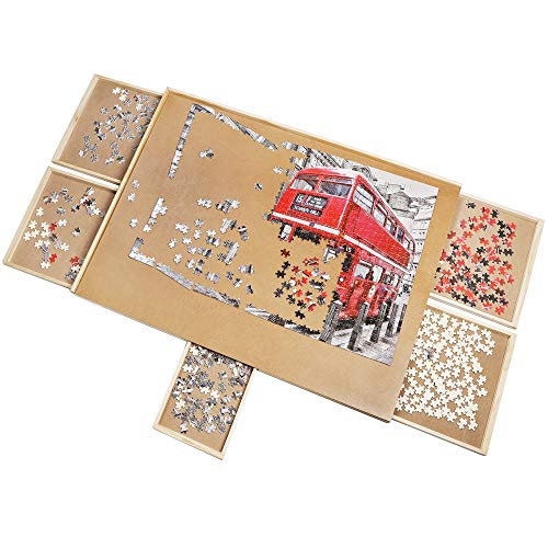 ATDAWN 1500 Pieces Solid Wooden Puzzle Table, Jigsaw Puzzle Board, Puzzle Plateau-Smooth Fiberboard Work Surface, with Five Drawers, Puzzle Accessories for 1500 Pcs
