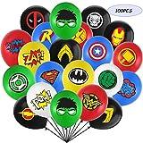 MIANRUII 100 Piezas Globos de superhéroe Globos de látex de 12 Pulgadas favores de Fiesta de superhéroe para niños Decoraciones de Fiesta de cumpleaños