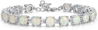 CiNily Rhodium Plated Fire Opal Women Jewelry Gemstone Bracelet 7