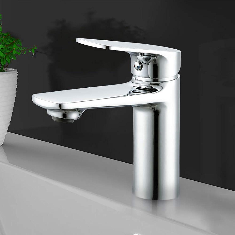 HUIJIN1 Bathroom Basin Faucet,Modern Single-Handle Chrome Leadless Brass Deck Mounted Widespread Bathroom Bar Sink Hot Cold Taps,Polishing Plating