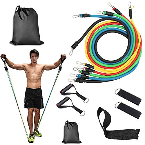 Resistance Bands Set, Exercise Bands with Door Anchor, Handles, Waterproof Carry Bag, Legs Ankle Straps for Resistance Training, Physical Therapy, Home Workouts
