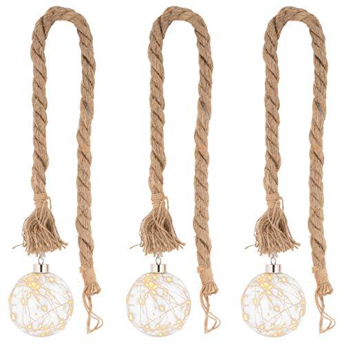 """3er Set LED Dekoleuchte """"Kugel"""" am Seil 20 LED warm weiß Glasfarbe klar Batterie Timer Weihnachtsdeko Deko-Seil Deko-Kugel Leuchtkugel Xmas"""