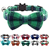Joytale Breakaway Cat Collar with Cute Bow Tie and Bell, Plaid Patterns, 1 Pack Kitty Safety Collars,Green