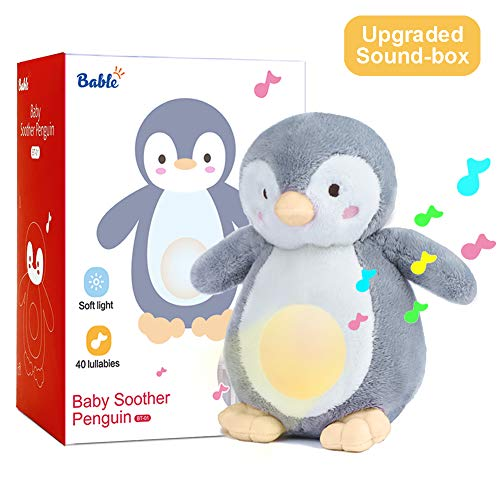 Baby Shower Gifts with Night Light Sleep Aid, Soother White Noise Sound Machine with 40 Lullabies, New Baby Gift Soother Portable Soft Stuffed Animal for Babies (Yellow)