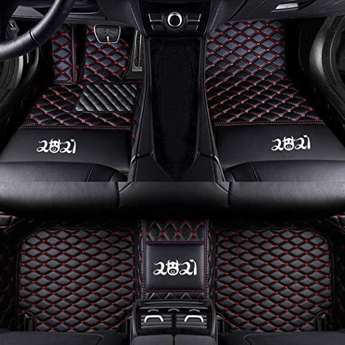 Auto Fußmatten,Benutzerdefiniert Für 95% Car Modell Autoteppiche,Für SUV Van & Truck Sedan Coupe Kunstleder Fussmatten Wasserdicht Tragen Anti Rutsch Matten Schwarz Rot