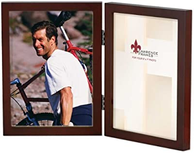 Lawrence Frames Hinged Double Walnut Wood Picture Frame, Gallery Collection, 5 by 7-Inch by Lawrence Frames