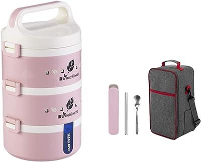 3コンパートメントランチボックス弁当箱ランチコンテナ食事保存容器漏れ防止絶縁シリコーンボックス LMMSP (Color : Pink)