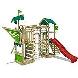 FATMOOSE Spielturm WaterWorld Wave XXL Klettergerüst mit Doppelschaukel, roter Rutsche und...