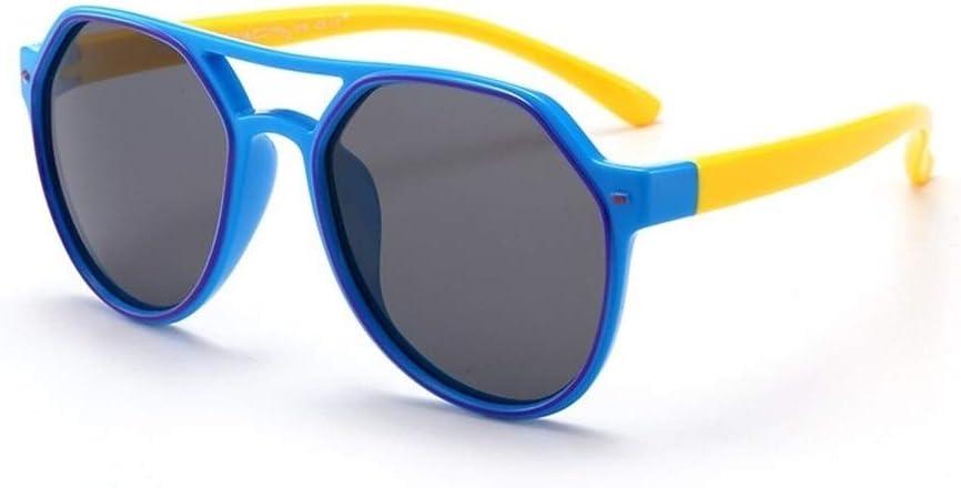 GAOXUFEI Children's Sunglasses Fashion Trend Anti-UV Children Boys Girls Sunglasses (Color : Blue)