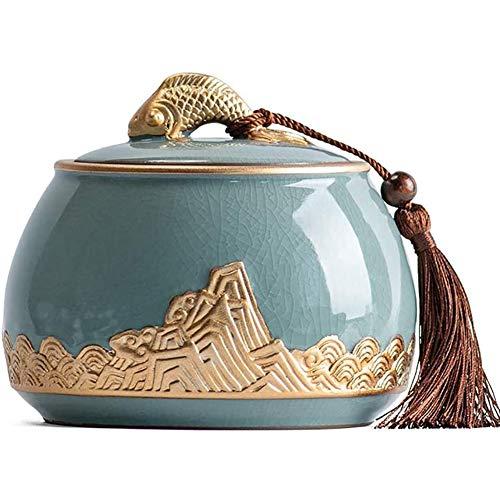 GZYM Celadon Chinesische Keramik Urnen für Asche & Mortal Remains Handgefertigte Keramik-Andenken Schöne Urnen für Mensch und Tier