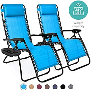 Best Choice Products Set of 2 Adjustable Steel Mesh Zero Gravity Lounge Chair Recliners w/Pillows and Cup Holder Trays, Light Blue