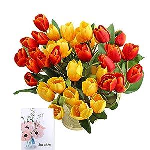 SnailGarden 36 Tulipanes sintéticos de 13.8″ con 2 Colores, Flores Artificiales Decorativas con 1 Tarjeta de Felicitación para Boda,Hogar,Fiesta,Decoración de Flores (Rojo/Amarillo)