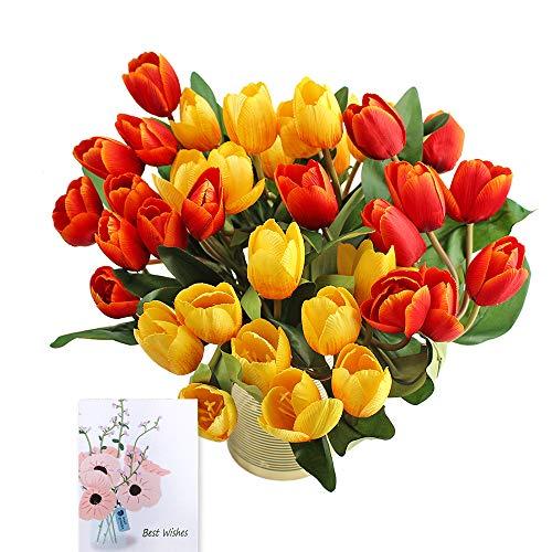 SNAIL GARDEN, 4 mazzi/36 Tulipani Finti Finti al Tatto, Fiori Artificiali in Seta, Bouquet per Matrimonio, casa, Feste, Festival, composizioni Floreali (Rosso/Giallo)