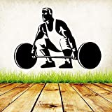 BailongXiao Mode Gewichtheben Vinyl Wandaufkleber Gym Übung Aufkleber Hohl Selbstklebende Tapete Fitness Center Home Decoration 45x33 cm