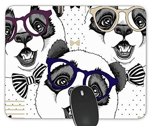 Panda Brille Spaß Rechteck Mousepad Gaming Mouse Pad Gummi Längliche Maus Matte
