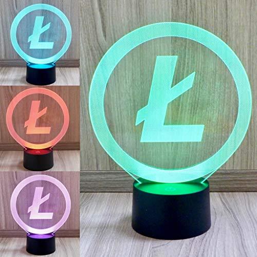 Multicolor LED Lampe im Litecoin Design (7 Farben) - Perfektes Geschenk für Krypto Fans (BTC)