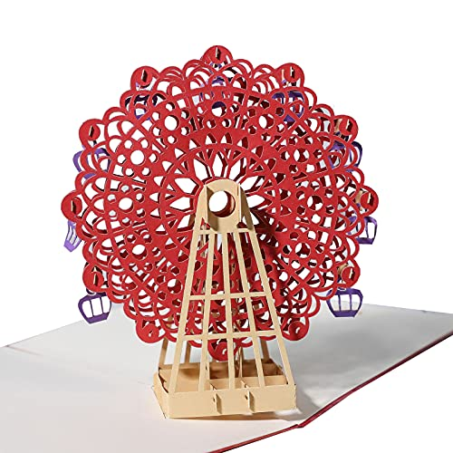 3D Pop Up Karte Muttertag Rote Riesenrad Exquisit Popup Geburtstags Karte mit Umschlag Gefaltete Karten Valentinstag Freundin Kostbar