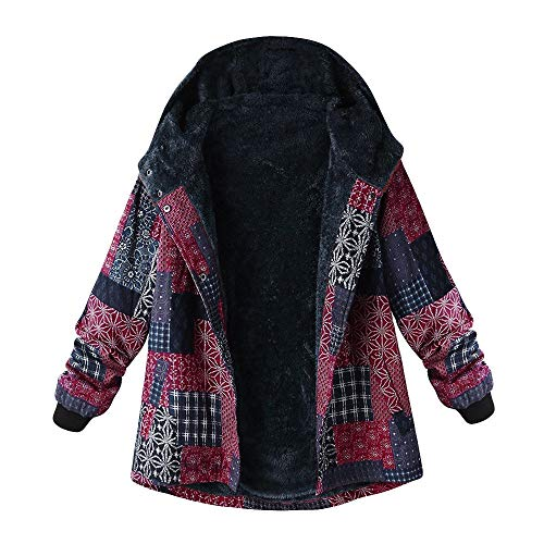 LoveLeiter Frauen Vintage Damen Fleece Dick Mantel Hoodie Pullover Strickjacke Winterjacke Dicke Wollmantel Outwear Floral Print Hooded Oversize Winter Parka Wintermantel Warm Winterjacken(Rosa,XXXL)