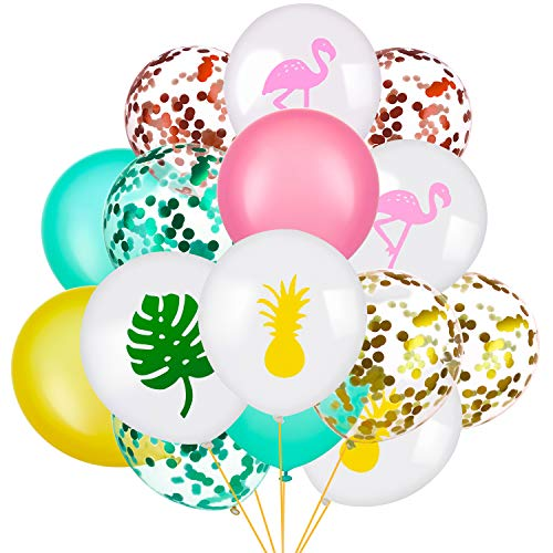 SATINIOR 45 Pieces Hawaii Party Decorative Balloon Flamingo Tropical Leaf Pineapple Balloons Colorful Balloon with Round Confetti for Hawaii Luau Party Decorations