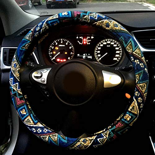 Couverture de Volant de Voiture en Cuir Microfibre Auto de 15 Pouces de Nice Design imprimé Fleurs pour Femmes Fille Fleurs imprimées