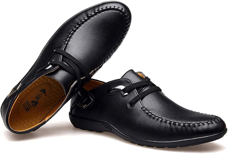 RJNSPx Leather shoes men's leather non-slip shoes, breathable round head wild mens dress shoes (color   A, Size   7.5 UK)