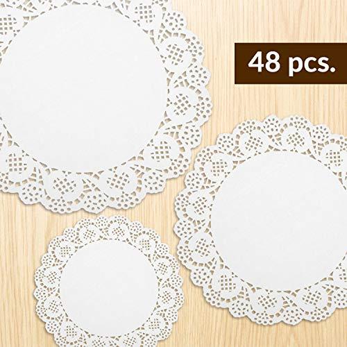 jaunty partyware 48 x Tapetes de Papel Tapetes de Papel Blanco | Mantelería de Papel de Encaje
