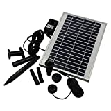 Direct Global Trading 1000 LPH 11W Large Solar Powered Water Feature Fountain Pond Pump with Battery Back Up and LED Light