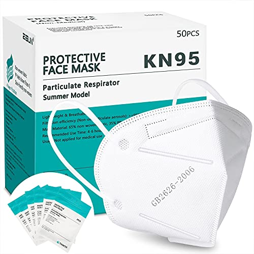 KN95 Face Mask 50 Pcs, Individually Wrapped Lightweight Breathable Safety Masks for Women Men, White