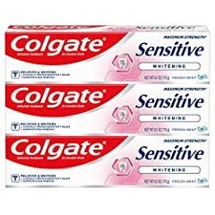 Specialty teeth whitening toothpaste for sensitive teeth and gums that provides superior stain removal Sensitive teeth toothpaste provides 24/7 sensitivity protection* and protects against future sensitivity* Includes maximum strength FDA allowed ant...