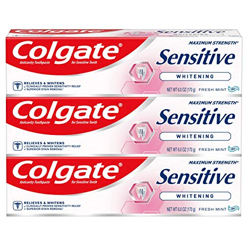 Colgate Sensitive Maximum Strength Whitening Zahnpasta, 170 ml, 3 Stück