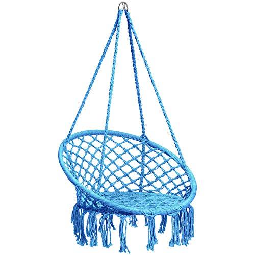 CCTRO Hammock Chair Macrame Swing,Boho Style Rattan Chair Hanging Macrame Hammock Swing Chairs for Indoor/Outdoor Home Patio Porch Yard Garden Deck,265 Pound Capacity (C Blue)
