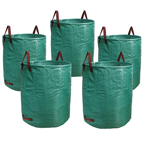 PHYEX 5er-Pack Gartensack, strapazierfähig, für Rasen, Pool, Abfälle, Pflanzen, Grasbeutel (1,5 x 2,5 Liter)