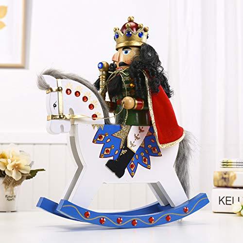 YAB 36Cm High Nutcracker Wooden Horse Rocking Horse Puppet Soldier Wooden Crafts Ornaments
