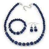 Cramique Bleu marine-Collier Perles Bracelet flexible &Boucles d'oreilles goutte avec cristal en ton argent-longueur 44 cm/Extension 6 cm