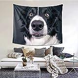Border Collie boca divertida nariz perro tapiz decoración del hogar mural de pared para colgar dormitorio de niños sala de estar dormitorio decoración 152 * 130 cm