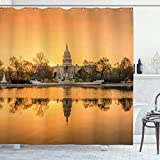 Ambesonne United States Shower Curtain, Washington DC American Capital City White House Above The Lake Landscape, Cloth Fabric Bathroom Decor Set with Hooks, 70' Long, Apricot Ginger