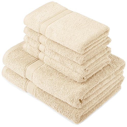 Pinzon by Amazon Handtuchset aus Baumwolle, Creme, 2 Bade- und 4 Handtücher, 600g/m²