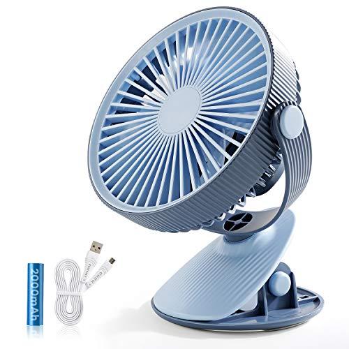 SmartDevil Ventilador Clip, Ventilador USB Batería De Escritorio USB Ventilador Silencioso Pequeño Personal Portátil Ventilador para la Oficina, Hogar,Viajar, Acampar, Cochecito de Bebé (Azul)