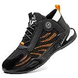 COOU Zapatillas de Segurida Hombre Ligeras Comodas Zapatos de Trabajo con Punta de Acero Antideslizantes Zapatillas de Industria y Construcción Transpirables 780/Black Orange 45