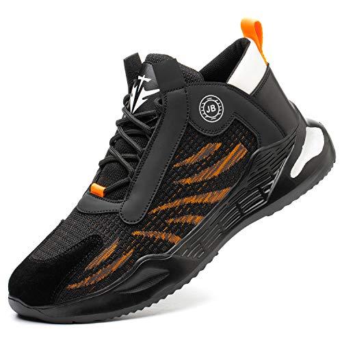 COOU Scarpe Antinfortunistica Uomo Leggere Estive Scarpe da Lavoro con Punta in Acciaio Traspiranti Sneaker da Cantiere S3 780/Black Orange 42
