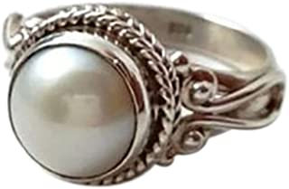 Haluoo Vintage Round Shape Moonstone Ring 925 Sterling Silver Victorian Style Solitaire Ring Triquetra Celtic Knot Gemstone Engagement Wedding Band for Women Size 6-10