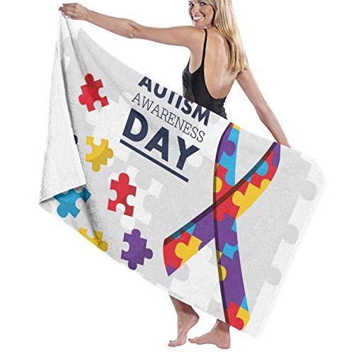 ENZOOIHUI Autism Awaren Puzzle Piece The Bath Towel Toalla de Playa 80X130 Cm