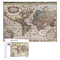 INOV 世界 1652地図 海 地図書 世界地図 トリプティカ ジグソーパズル 木製パズル 500ピース キッズ 学習 認知 玩具 大人 ブレインティー 知育 puzzle (38 x 52 cm)