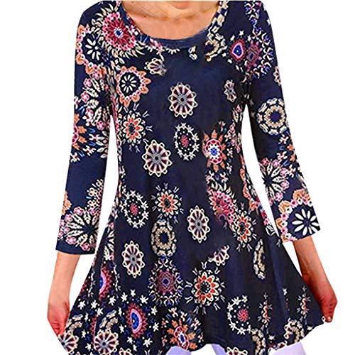 Top Camicetta T Shirt Donna Summer Casual O-Collo Stampa Floreale Manica Lunga Manica a Lanterna Boho Print Camicetta T-Shirt Fashion (5XL,Marina Militare)