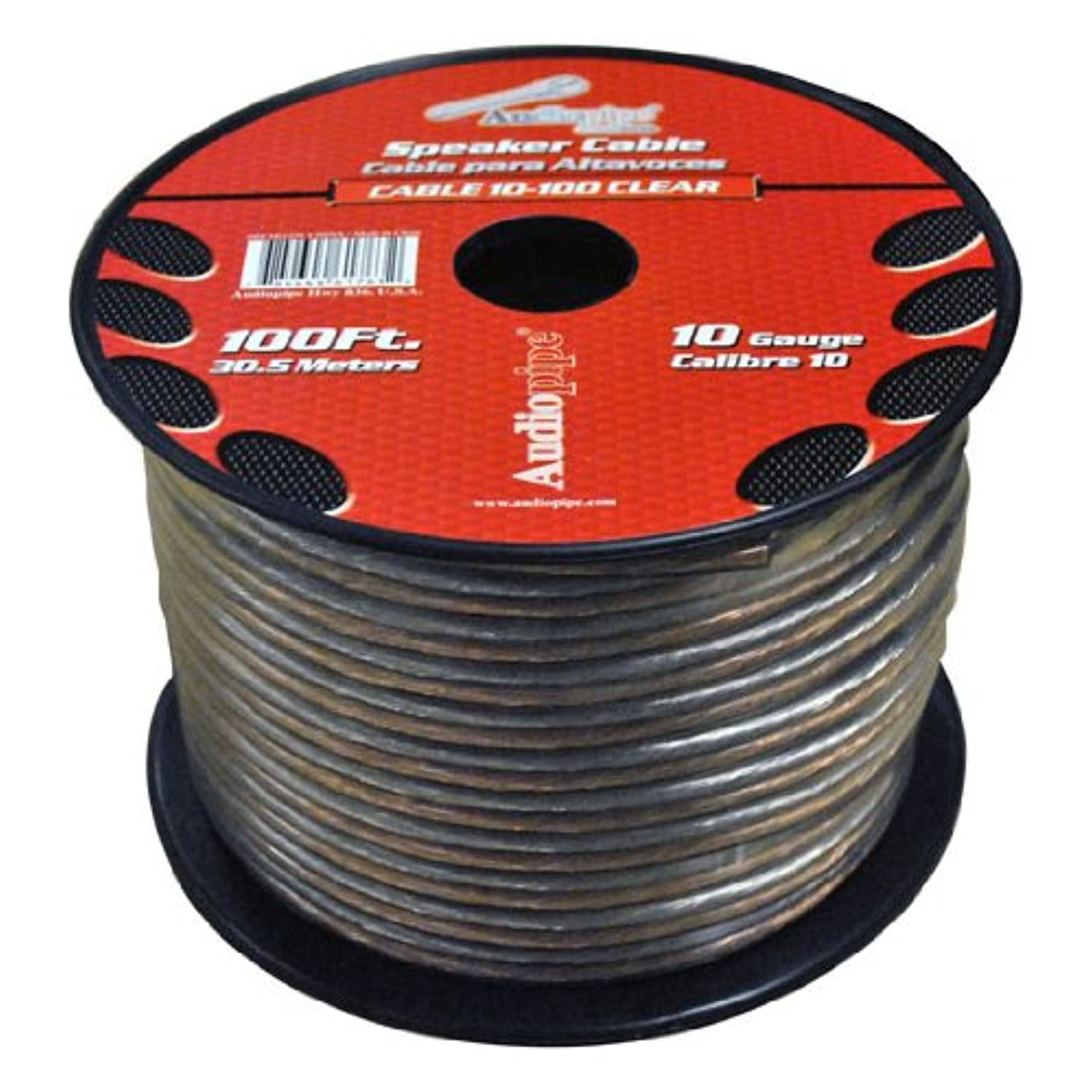 10 Gauge Clear Speaker Wire 100' FT 2 Conductor Audio Cable Zip Cord Audiopipe