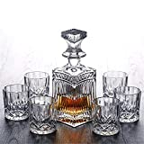 Honoen Whiskey Glass Lead Free Sophisticated Decanter with Stopper and 6 Cocktail for Glasses...